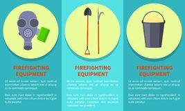 Tools for Firefighting on Circles Colorful Poster. Tools for firefighting on yellow circles colorful vector poster with informative text on azure background Stock Image