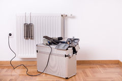Tools for fixing radiator stock photography