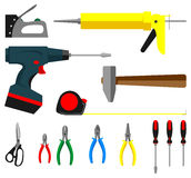 Tools in a flat style. A set of tools in a flat style Royalty Free Stock Image