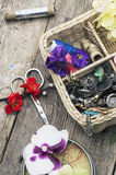 Tools and floral decorations Royalty Free Stock Photos