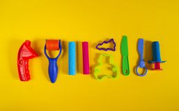 Free Tools For Creative Hobbies. Molding Of Plasticine, Stack, Shape, Rolling Pin. Stock Photos - 121572423
