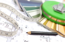 Free Tools For Home Renovation On Architectural Drawing Stock Photos - 27721313