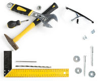 Tools frame with copy space. On white background Royalty Free Stock Photography