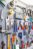 Tools on garage wall Stock Image
