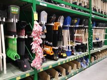 Tools for the garden  shelves in supermarket Stock Images