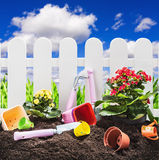 Tools garden soil on nature background Royalty Free Stock Image