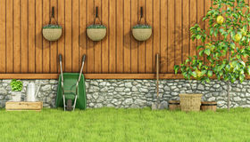 Tools for gardening in a garden Stock Images