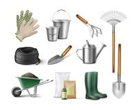 Tools for gardening. Vector set of tools for gardening and horticulture royalty free illustration