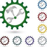 Tools and gear, tools and locksmith logo. Tools and gear, colourful, tools and locksmith logo Stock Photos