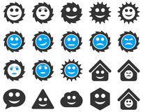 Tools, gears, smiles, emotions icons Royalty Free Stock Image