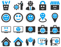 Tools, gears, smiles, management icons Stock Photo