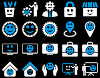 Tools, gears, smiles, management icons Royalty Free Stock Image