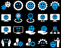 Tools, gears, smiles, map markers icons Royalty Free Stock Images