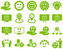 Tools, gears, smiles, map markers icons Royalty Free Stock Image