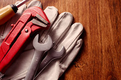 Tools and Gloves on Table with Copy Space on Right Stock Photos