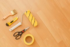 Tools for gluing wallpapers. Renovation Royalty Free Stock Images