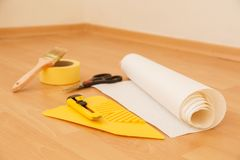 Tools for gluing wallpapers. Renovation Stock Photos