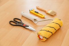 Tools for gluing wallpapers Royalty Free Stock Photo