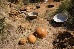 Tools for gold digging. Tools utilized by gold digger, Burkina faso Stock Images