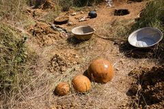 Tools for gold digging. Tools utilized by gold digger, Burkina faso Stock Photo