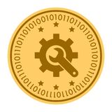 Tools golden digital coin vector icon. Gold yellow coin with wrench and gear symbol. cryptocurrency icon isolated on. White background. Flat style. Eps 10 Stock Image