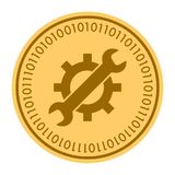 Tools golden digital coin vector icon. Gold yellow coin with wrench and gear symbol. cryptocurrency icon isolated on. White background. Flat style. Eps 10 Stock Photos