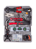 Tools in a gray toolbox. Royalty Free Stock Images