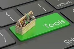 Tools green key on  keyboard. 3D rendering. Tools green key on  keyboard. 3D Stock Photos