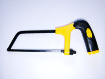 Tools, Hacksaw. Hacksaw with yellow handle  on white background Royalty Free Stock Photo