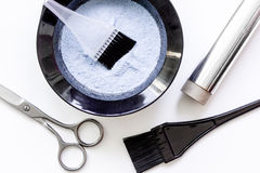 Tools for hair dye and hairdye top view white background Stock Images