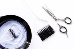 Tools for hair dye and hairdye top view white background Royalty Free Stock Images
