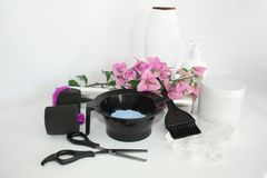 Tools for hair dye and hairdye white background.Barber set with hair dye, foil and brush, scissors and curlers. Set for coloring. Tools for hair dye and hairdye royalty free stock image