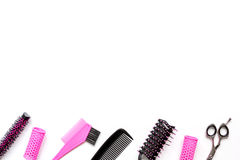 Tools for hair styling on white background top view Royalty Free Stock Photo