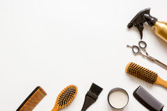 Tools for hair styling on white background top view Stock Photos
