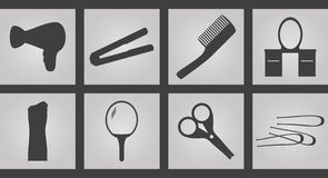 Tools hairdresser Icons. Set of Icons on a theme Tools hairdresser Stock Images