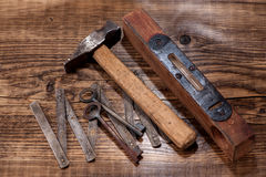 Tools hammer, ruler and level Stock Image