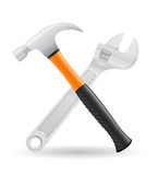 Tools hammer and screw wrench icons vector illustr Royalty Free Stock Images