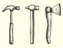 Tools hammers and ax set drawing a handmade monochrome vector. i. Solated Royalty Free Stock Photos