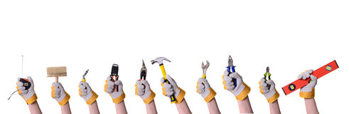 Tools in hand Royalty Free Stock Images
