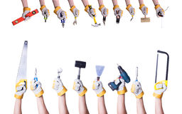 Tools in hand royalty free stock photo