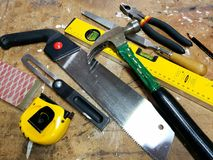 Tools. Hand tools on a work bench Royalty Free Stock Photo