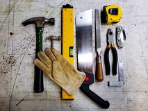 Hand tools. On a work bench Royalty Free Stock Photo