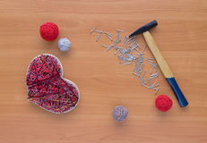 Tools for handiwork in stile String Art on wooden table Royalty Free Stock Photos