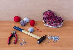 Tools for handiwork in stile String Art on wooden table Stock Images