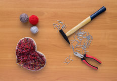 Tools for handiwork in stile String Art on wooden table Royalty Free Stock Photography