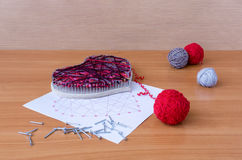 Tools for handiwork in stile String Art on wooden table Royalty Free Stock Photo