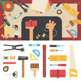 Tools for handmade with leather Stock Photos
