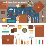 Tools for Handmade with Leather. Hobby Concept Stock Photo