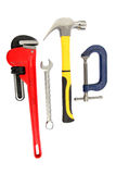 Tools for the handyman. Wrench,spanner,hammer and clamp isolated on a white background stock photos