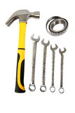 Tools for the handyman. Different hand-tools isolated on a white background stock images